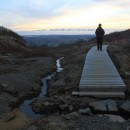 walking on bridge in Skaftafell National Park, Iceland