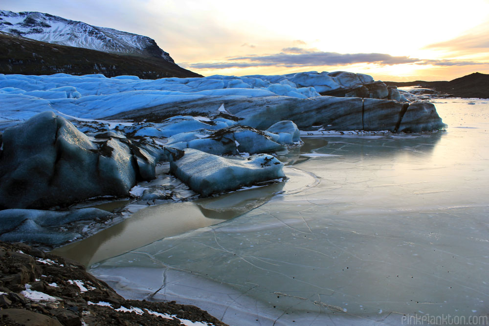 glacier and sunset in Iceland