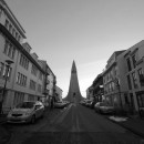 church and street in Reykjavik