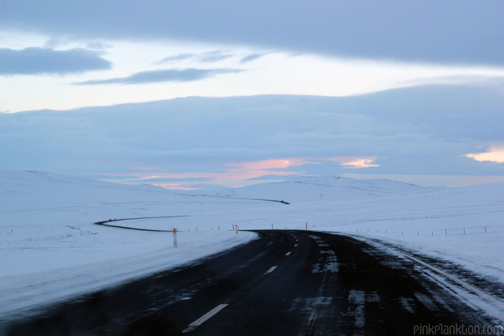 snow covered roads in Iceland