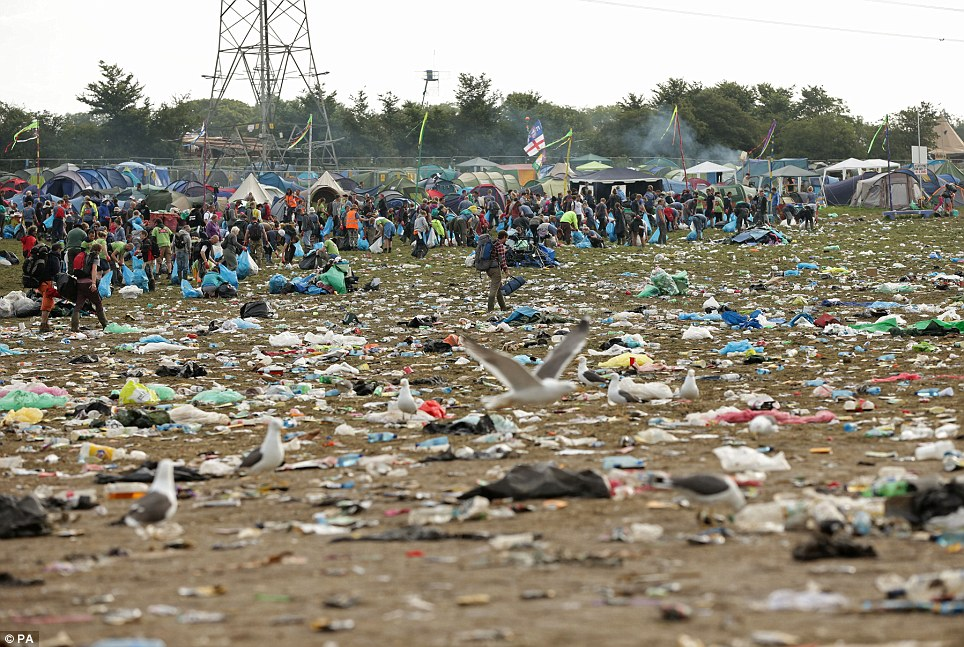 garbage at Glastonbury
