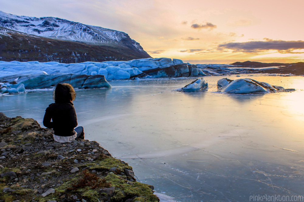 Iceland sunset with glacier lake and mountains