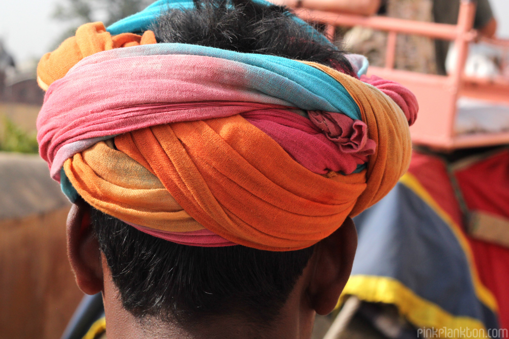 man with colorful turban