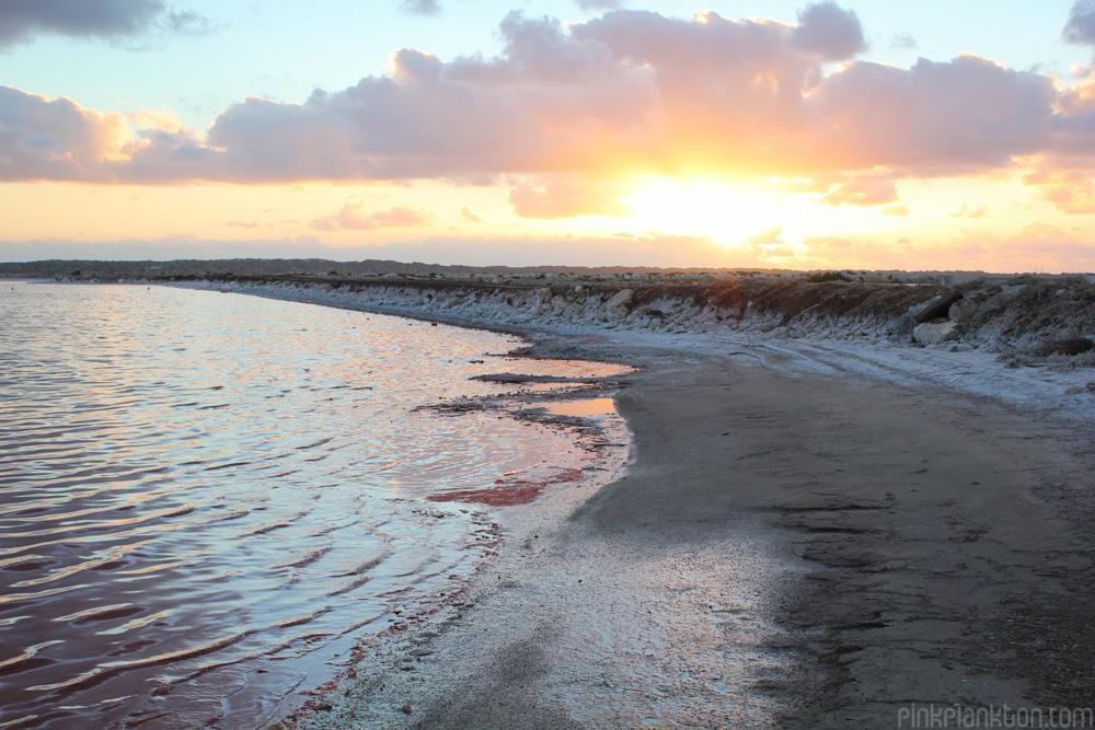 sunset at Pink Lake in Western Australia
