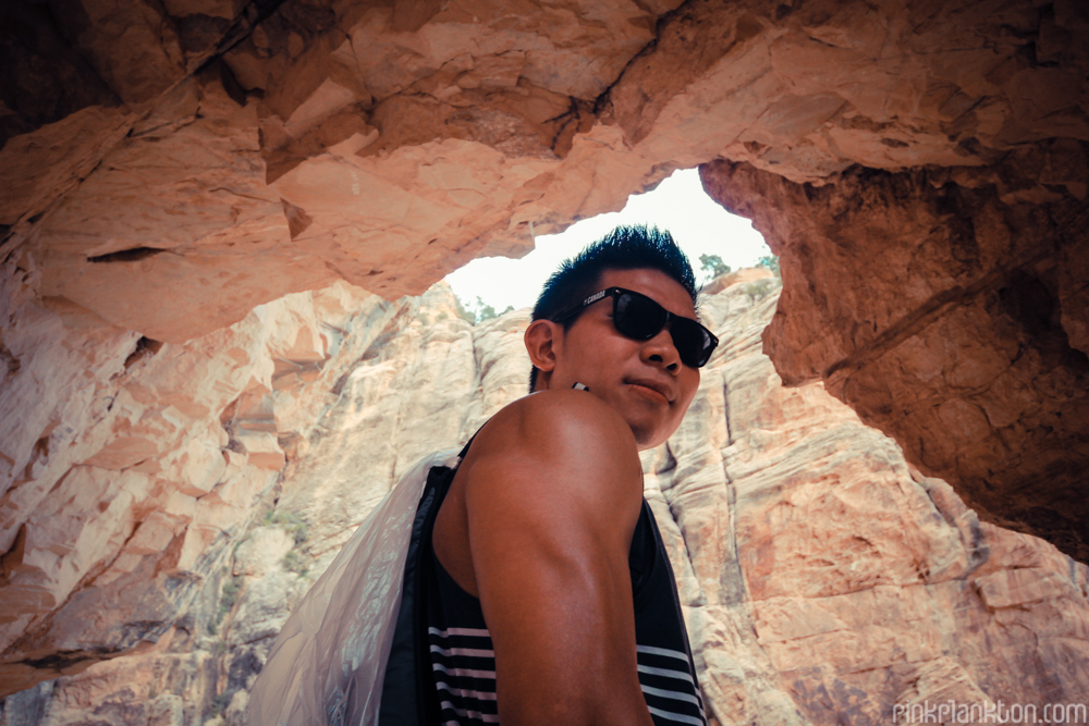 male posing framed by Grand Canyon rock