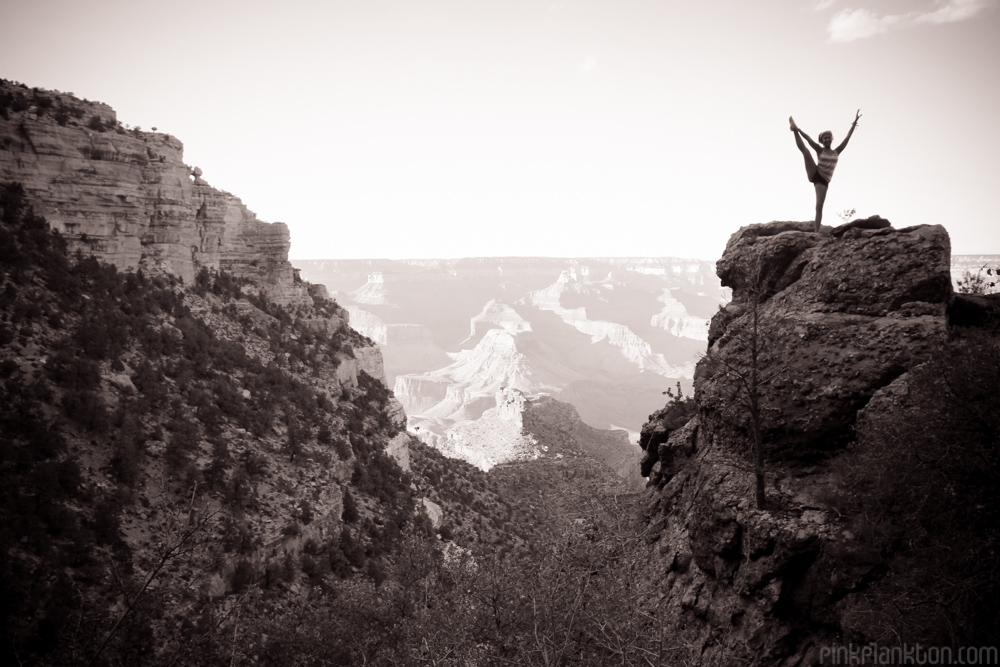 girl posing on Grand Canyon rock