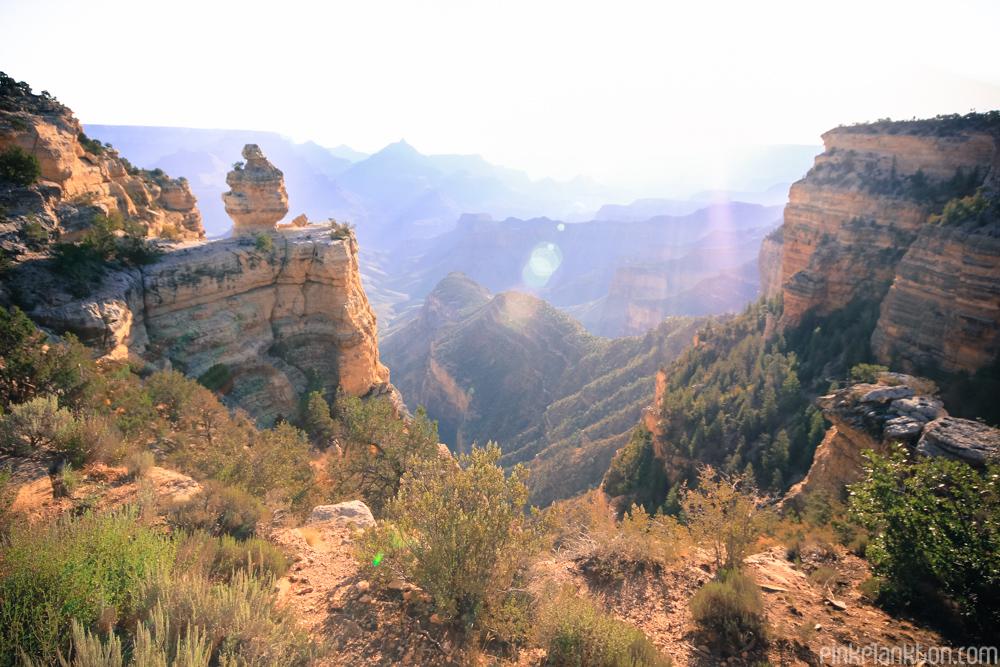 alternate view of Grand Canyon, sun setting