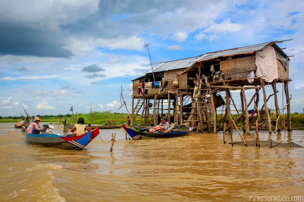 floating village in Tonle Sap Lake, Cambodia
