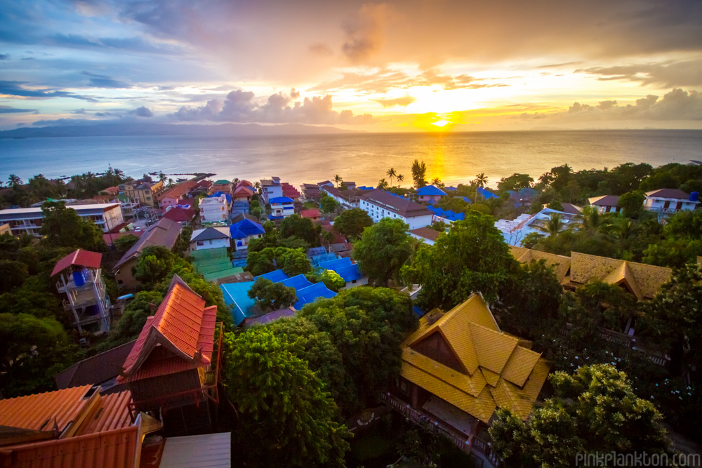 rooftop sunset over Koh Phangan in Thailand