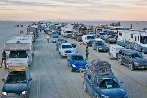 Burning Man line exodus