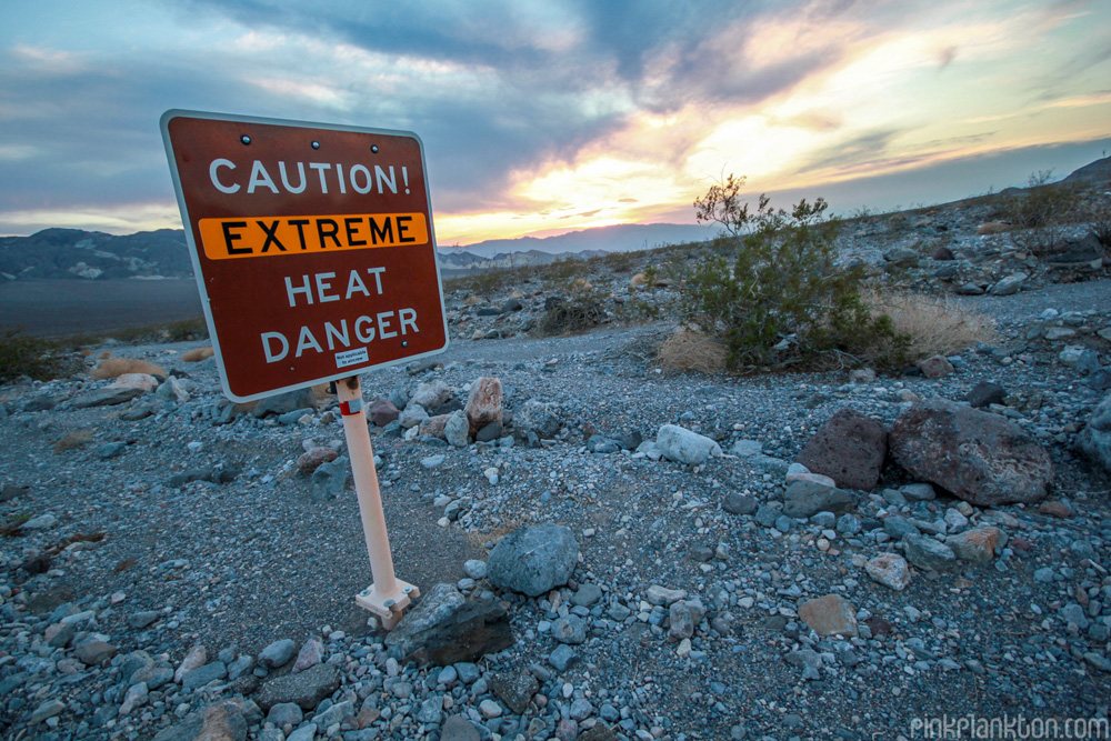Caution extreme heat danger sign in Death Valley, California