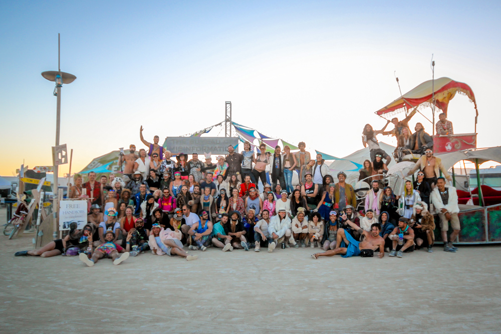 Bureau of Misinformation Burning Man theme camp group photo