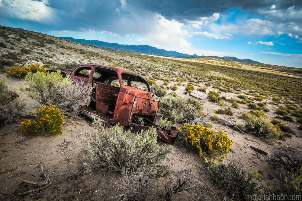abandoned car in desert in Nevada