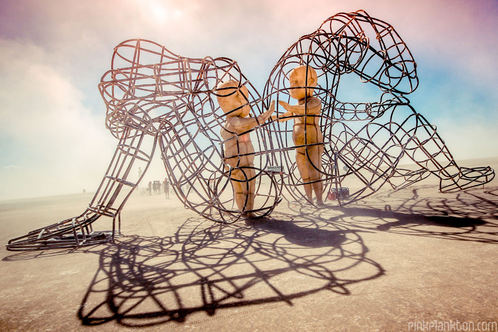 art installation at Burning Man entitled Love by Alexander Milov
