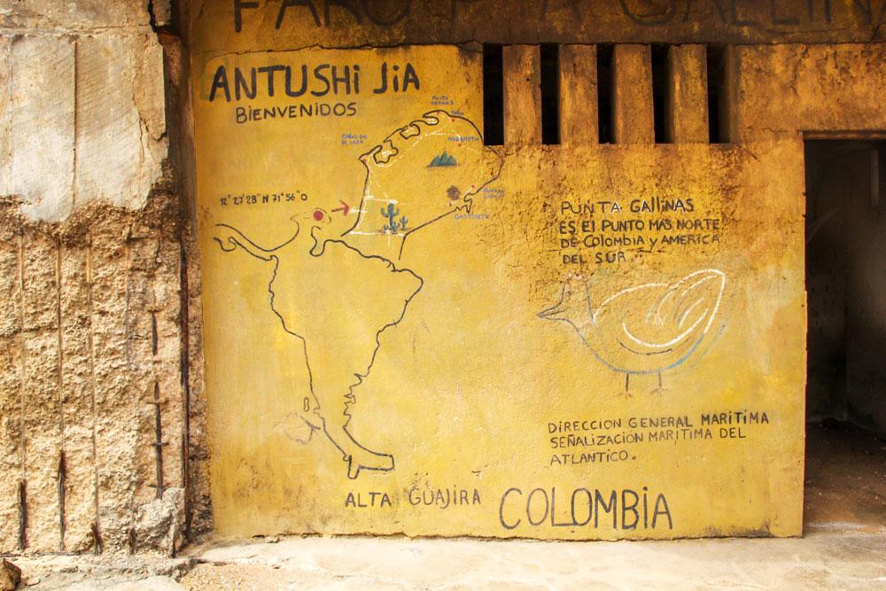 map at Punta Gallinas, Colombia