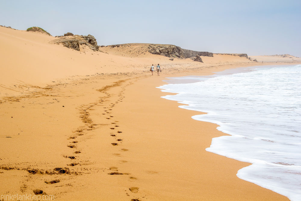 red sand dunes and beach at Punta Gallinas, Colombia