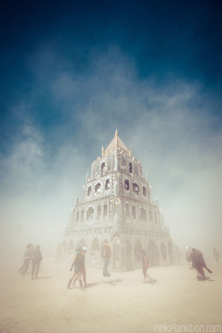 temple in dust storm at Burning Man