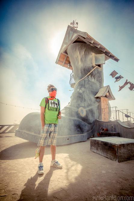 boot art installation at Burning Man