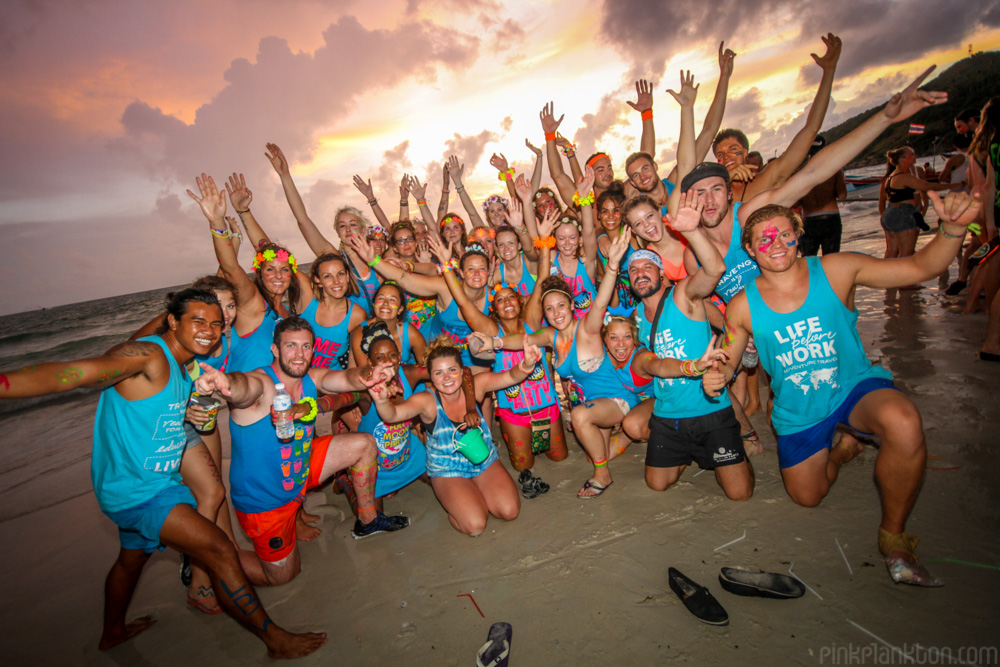 full moon party group sunrise photo