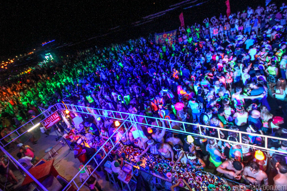 crowd at full moon party in Koh Phangan, Thailand