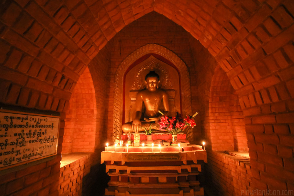 ruins temple in Bagan lit by candle light
