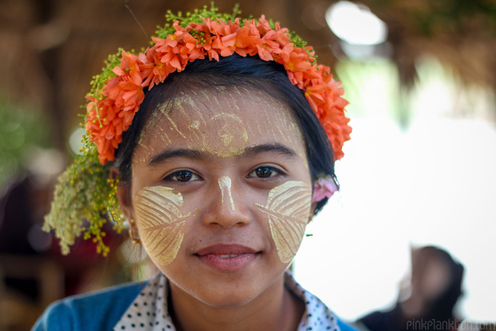 Burmese girl with thanaka