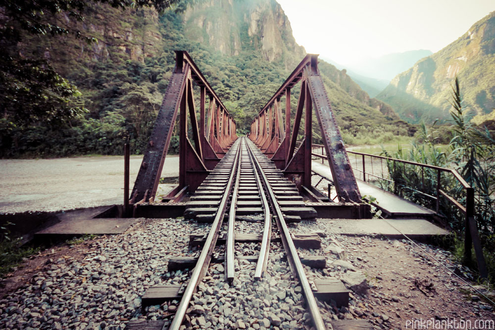 train track bridge in Peru