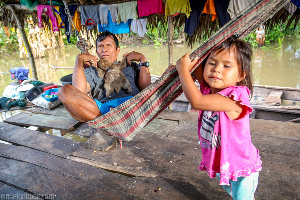 man with pet sloth in hammock with female child