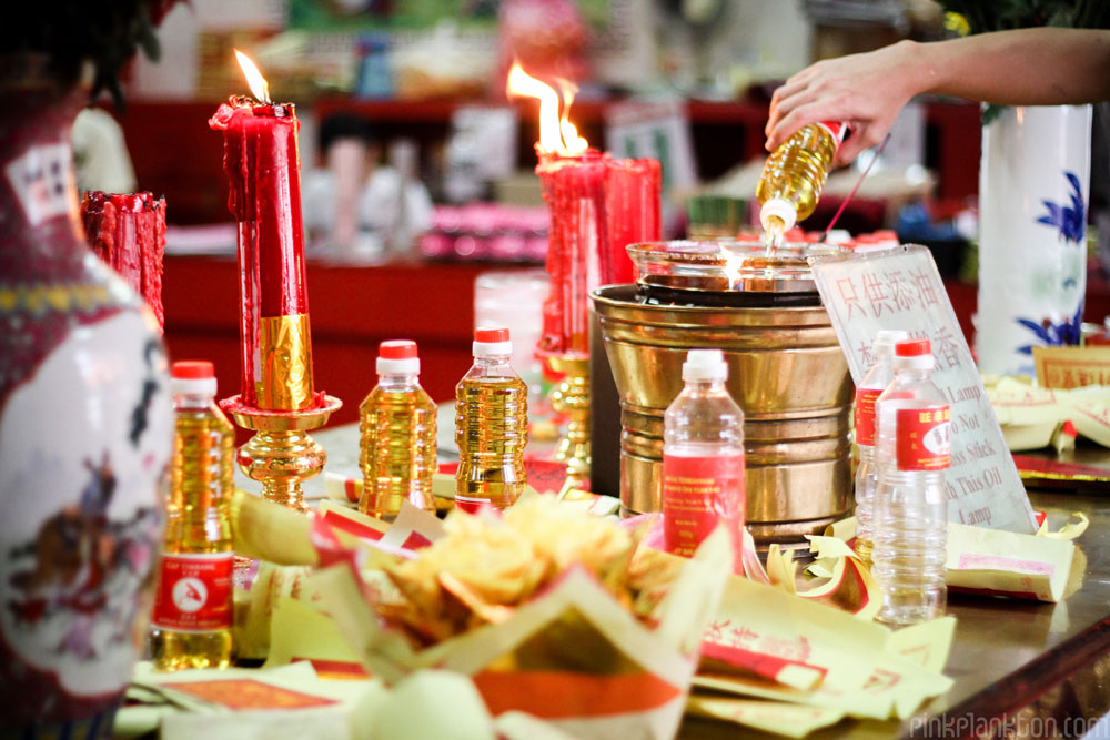 Chinese New Year burning oil in temple