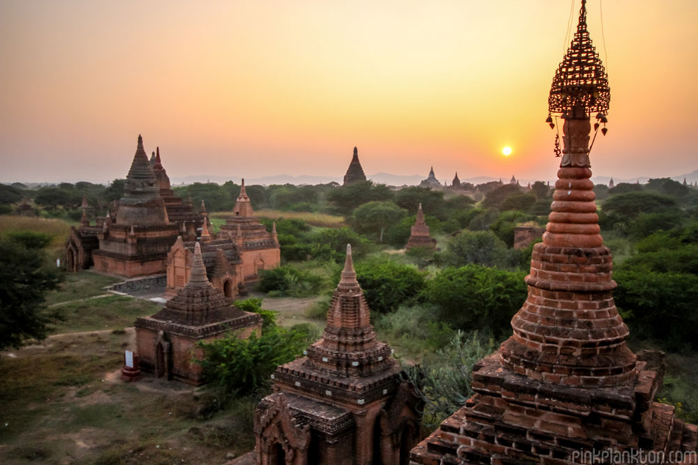 view of temples in Bagan, Myanmar
