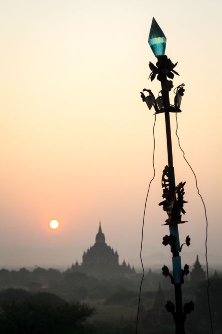 sunrise over temples in Bagan, Myanmar