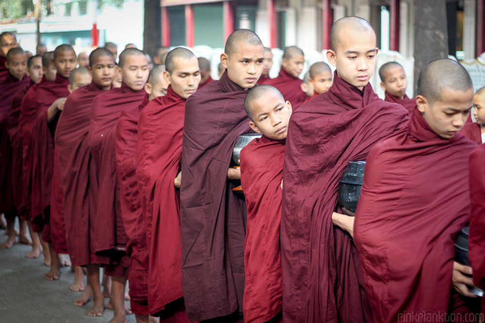 Buddhist monks lined up in Myanmar