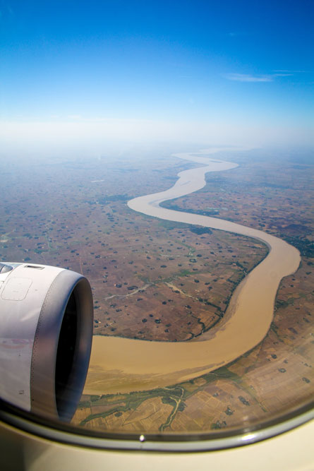view of Myanmar from plane