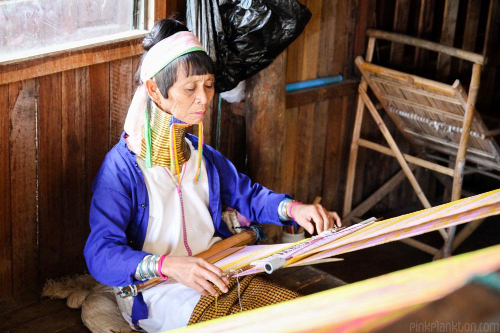long neck lady weaving in Inle Lake, Myanmar