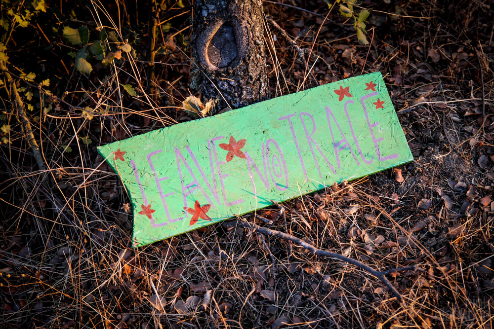 Leave no trace sign at Boom Festival