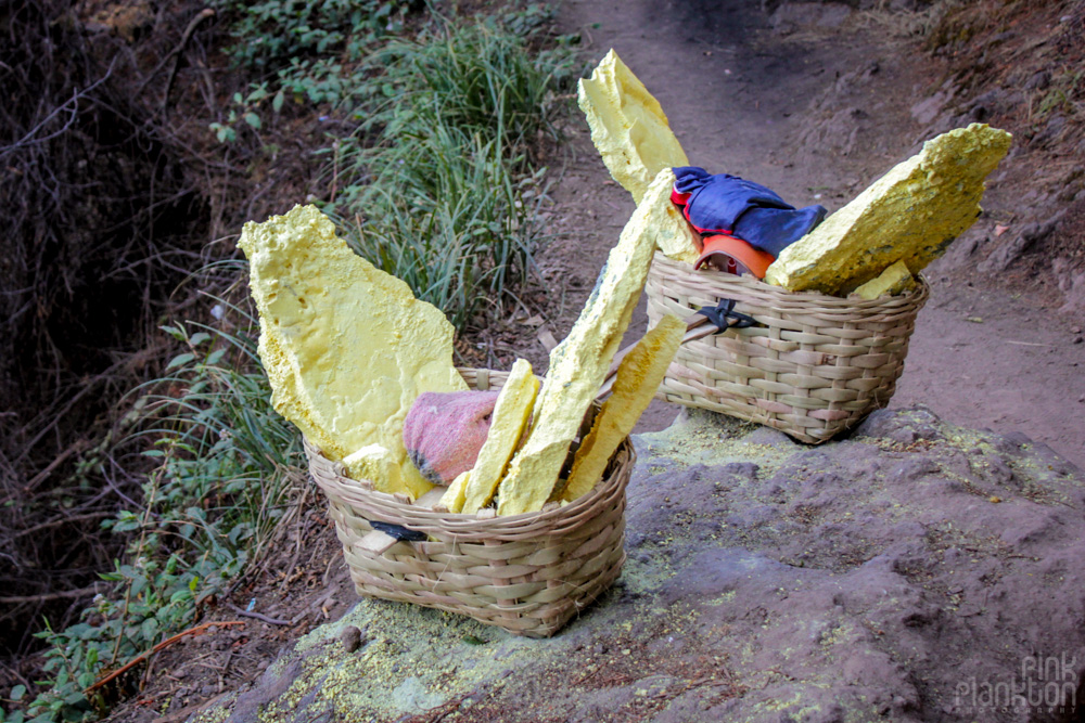 sulfer miner's basket at Kawah Ijen