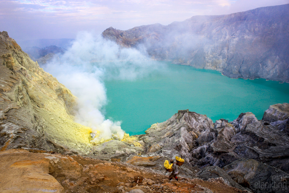 Kawah Ijen acid lake and sulfur mine