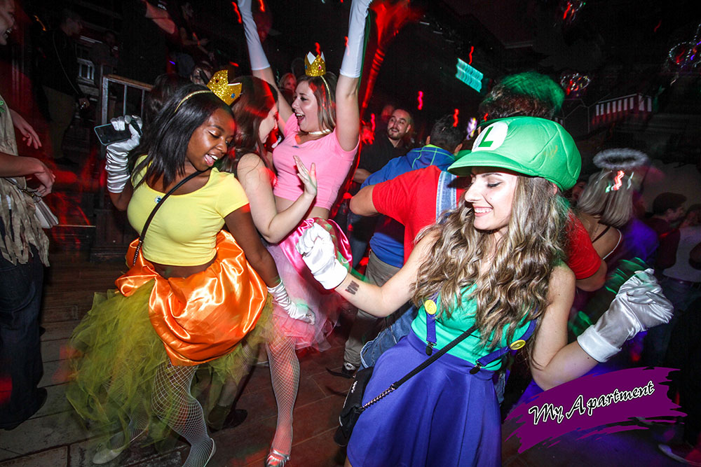 halloween costume party at nightclub my apartment nintendo characters