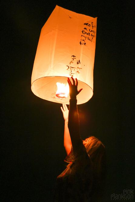 releasing lantern in Thailand