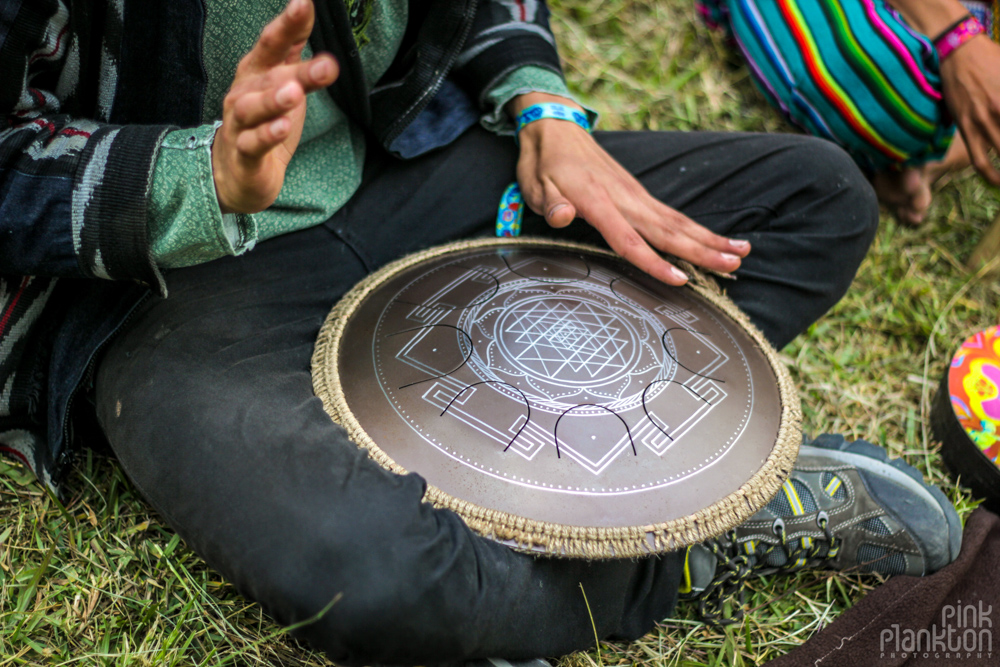 handpan with psychedelic pattern