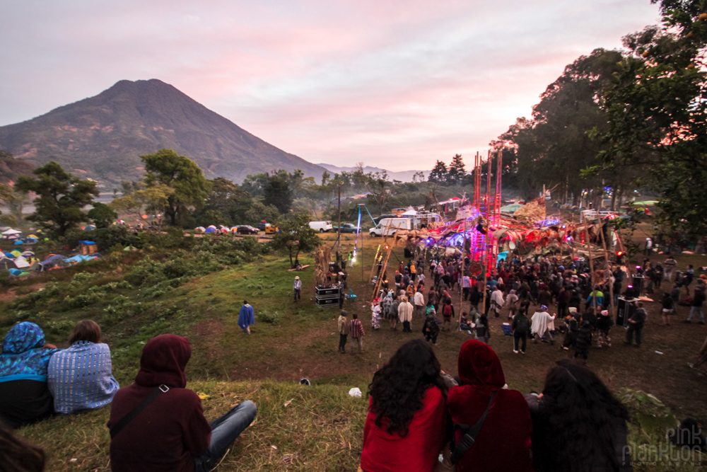 sunrise with stage and Volcano at Cosmic Convergence Festival