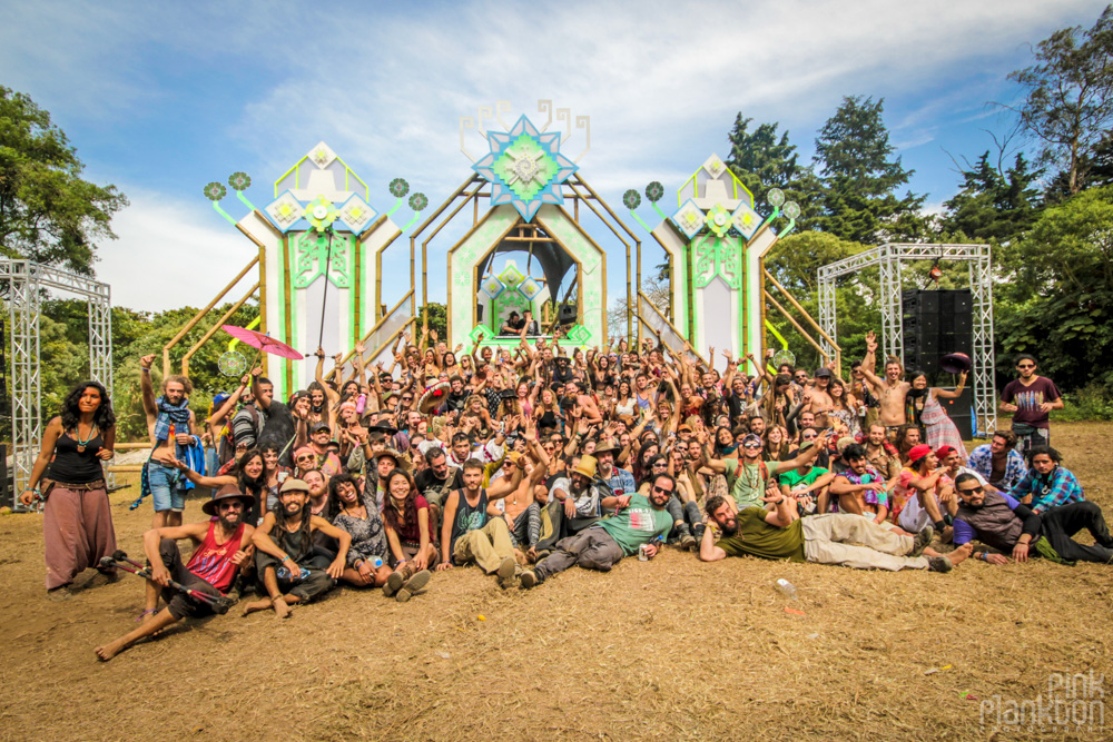 group photo in front of psytrance stage at Cosmic Convergence Festival