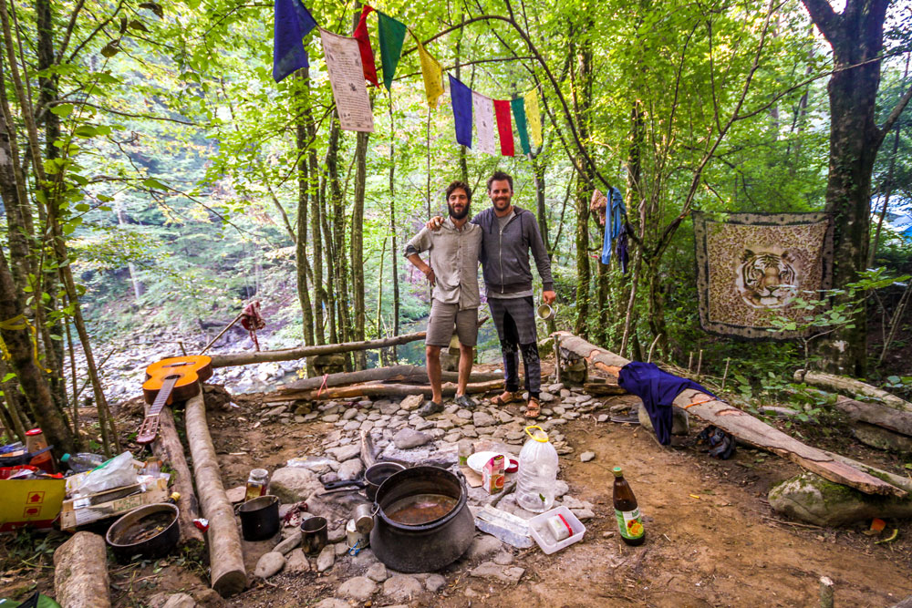 rainbow gathering campfire