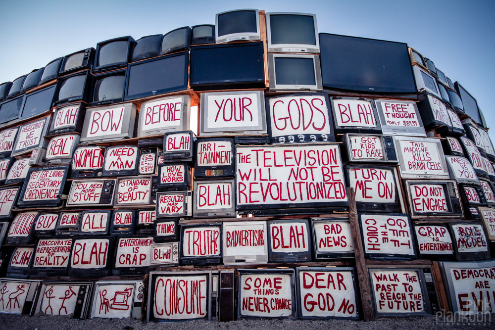 Slab City Wall of TV's in East Jesus