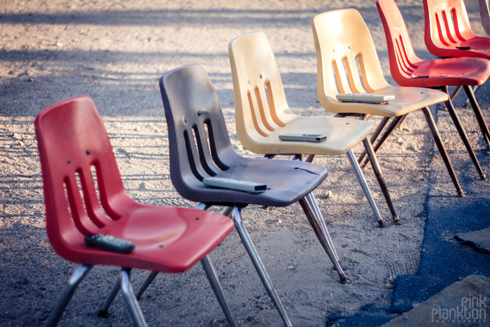 Slab City East Jesus TV wall chairs