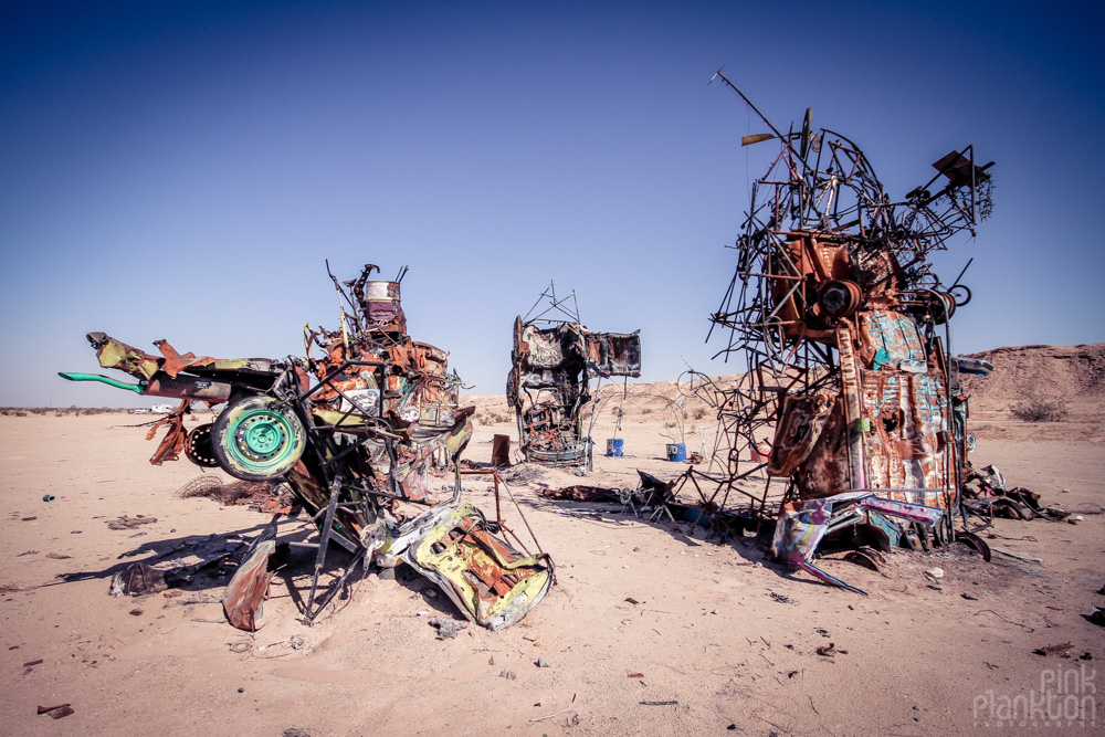 Slab City car art sculptures