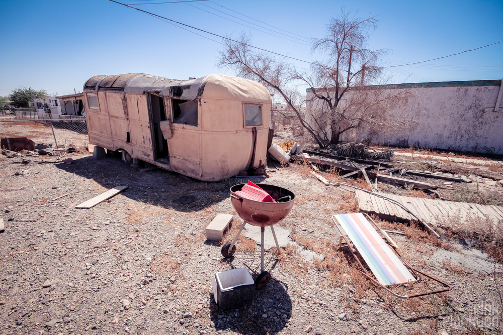 Bombay Beach abandoned trailers