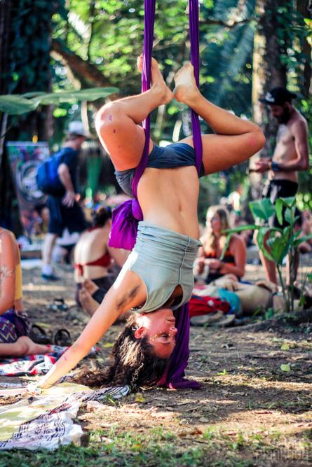 Envision Festival aerial silks yoga