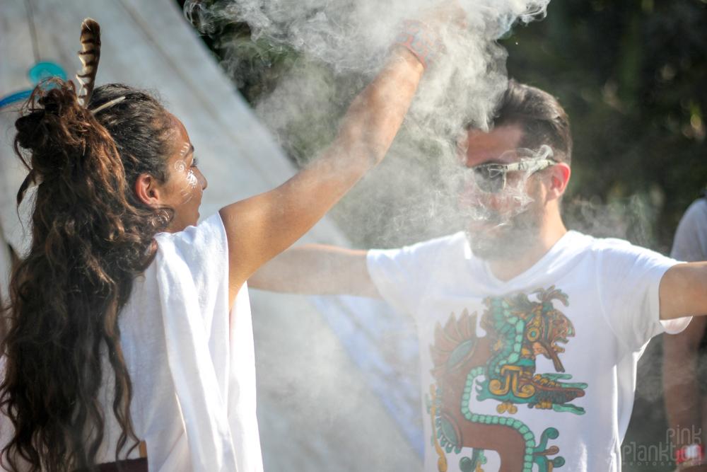 Festival Ometeotl women sage smudging man