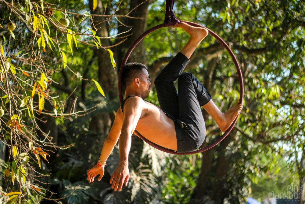 Festival Ometeotl acrobatic hooper inside hoop